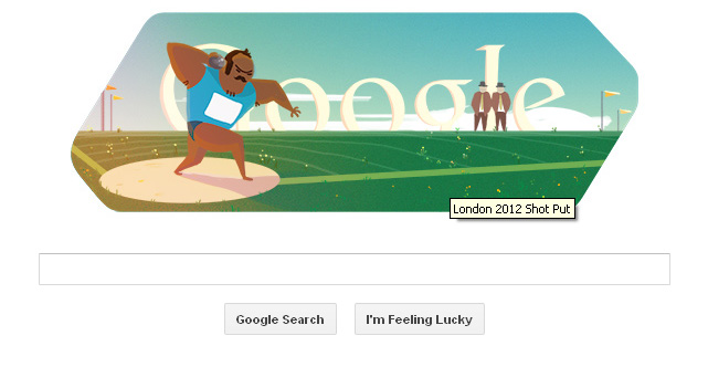 London 2012 shot put Google Doodle